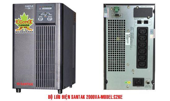 Bộ lưu điện UPS Santak Online C2KE (2KVA) có thể Tự động chuyển sang chế độ điện lưới trực tiếp khi quá tải ,Công suất : 2 KVA / 1.6 KW , Hiệu suất : 88 %