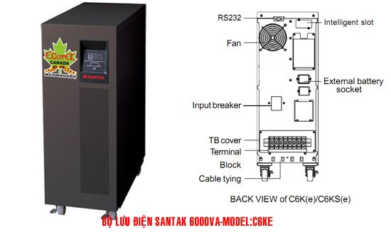 Bộ lưu điện UPS Santak Online C6KE (6KVA)- Dienmaytoanthang.com